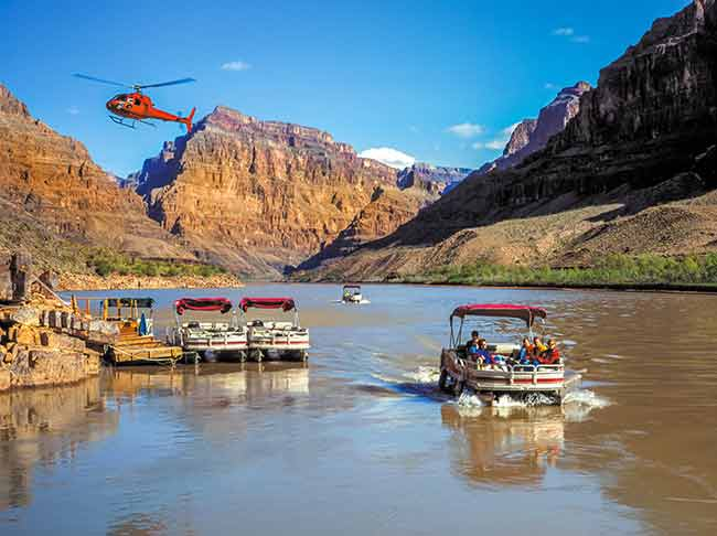 helicopters boats colorado river grand canyon west skywalk
